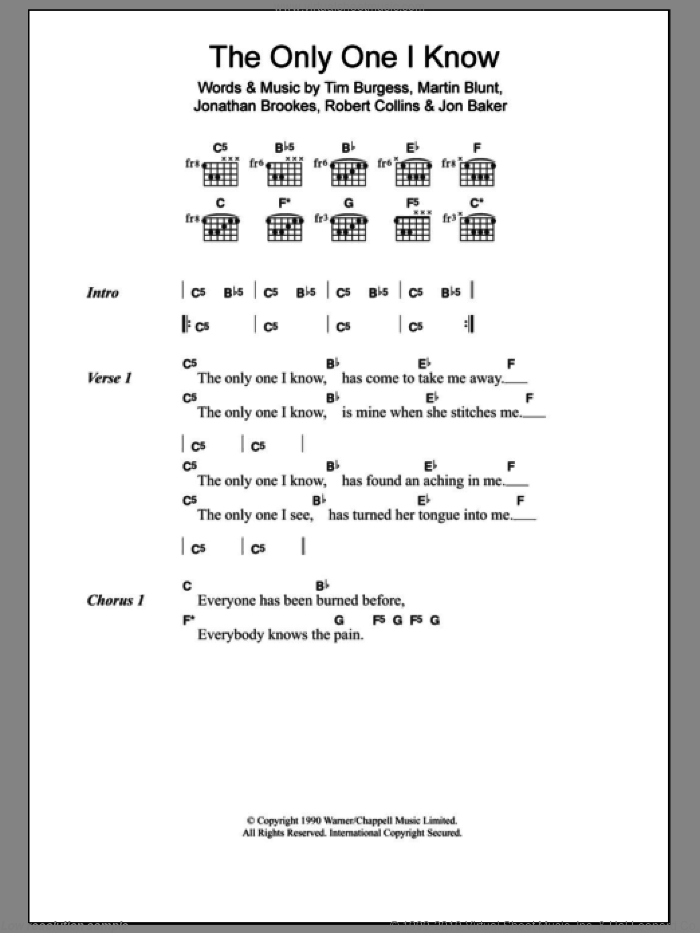 The Only One I Know sheet music for guitar (chords) by Tim Burgess. Score Image Preview.