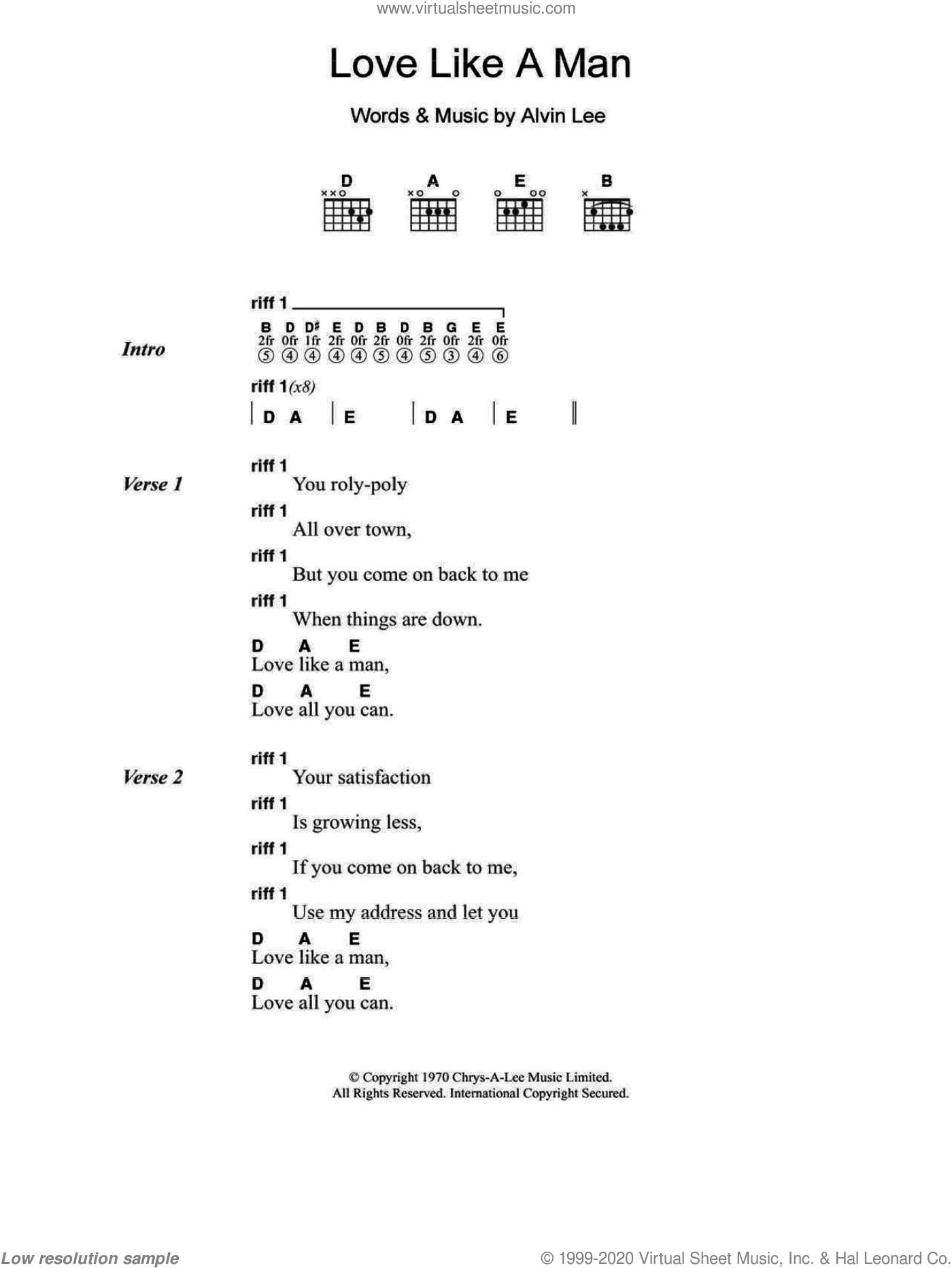 Love Like A Man sheet music for guitar (chords) by Alvin Lee