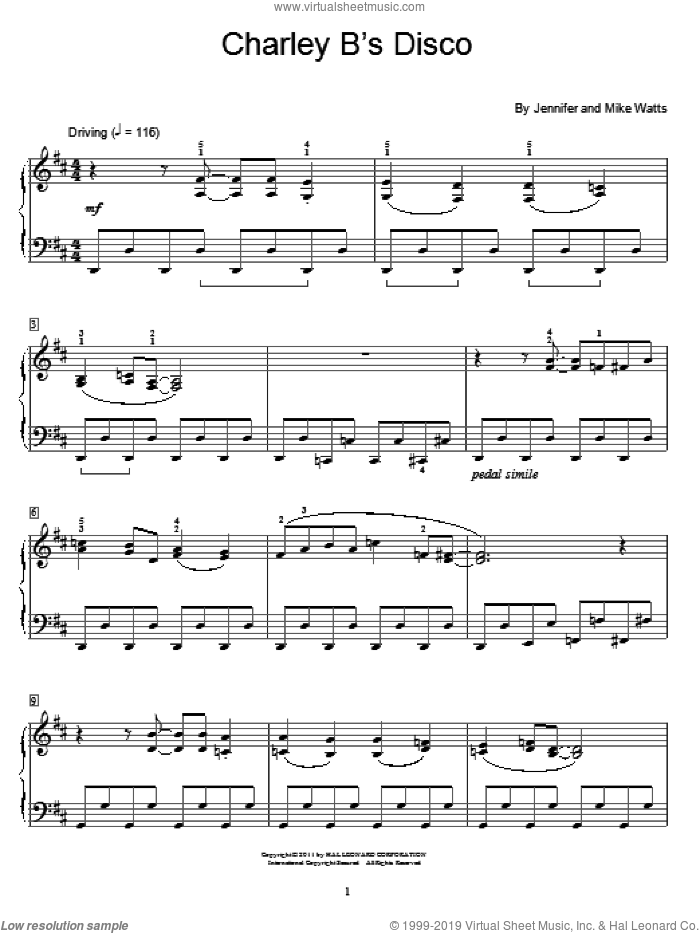 Charley B's Disco sheet music for piano solo (elementary) by Jennifer Watts and Mike Watts. Score Image Preview.