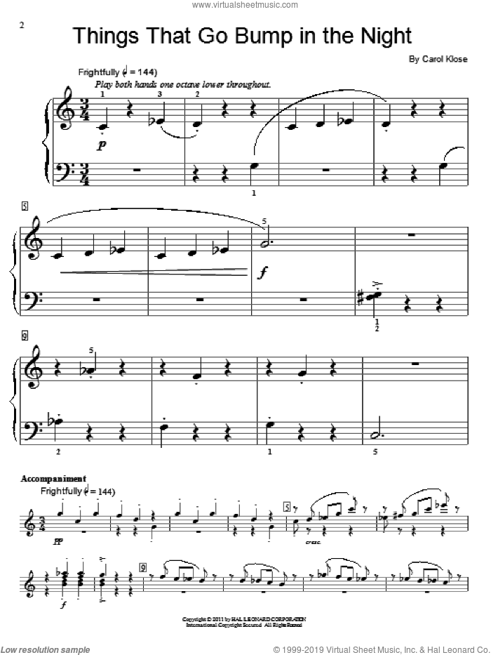 Things That Go Bump In The Night sheet music for piano solo (elementary) by Carol Klose, beginner piano (elementary)
