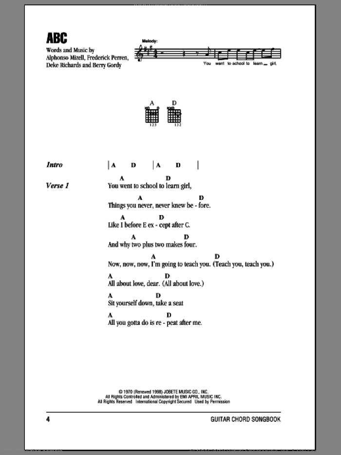 ABC sheet music for guitar (chords) by The Jackson 5, Michael Jackson, Alphonso Mizell, Berry Gordy, Deke Richards and Frederick Perren, intermediate skill level