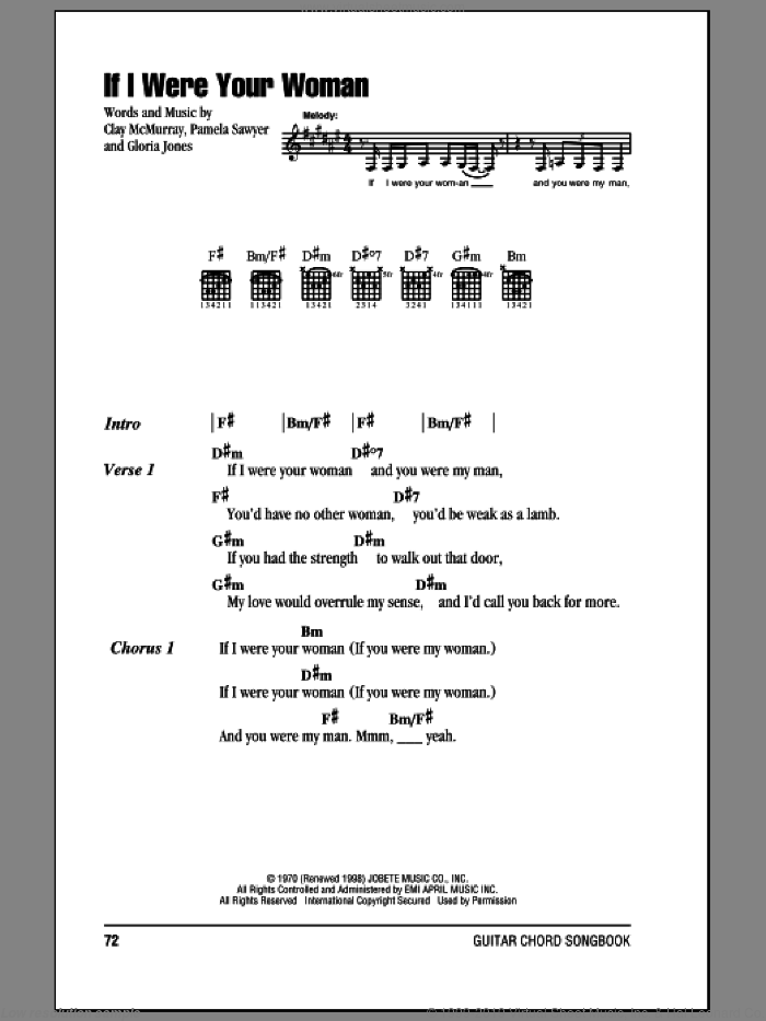 If I Were Your Woman sheet music for guitar (chords) by Gladys Knight & The Pips and Alicia Keys, intermediate guitar (chords). Score Image Preview.