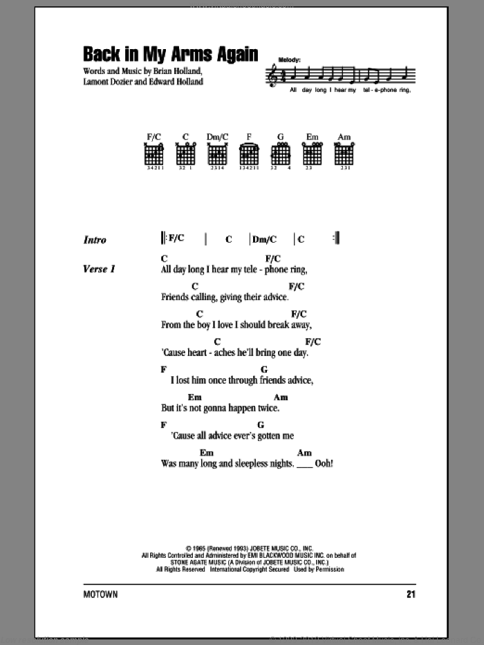 Back In My Arms Again sheet music for guitar (chords) by The Supremes, Brian Holland, Eddie Holland and Lamont Dozier, intermediate skill level