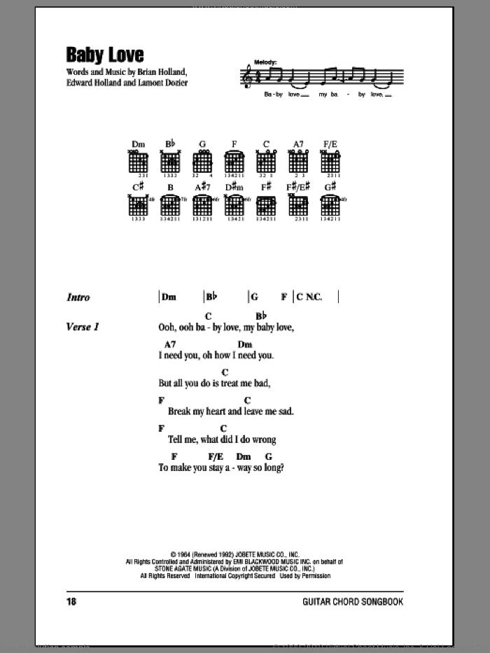 Baby Love sheet music for guitar (chords) by The Supremes, Brian Holland, Eddie Holland and Lamont Dozier, intermediate skill level