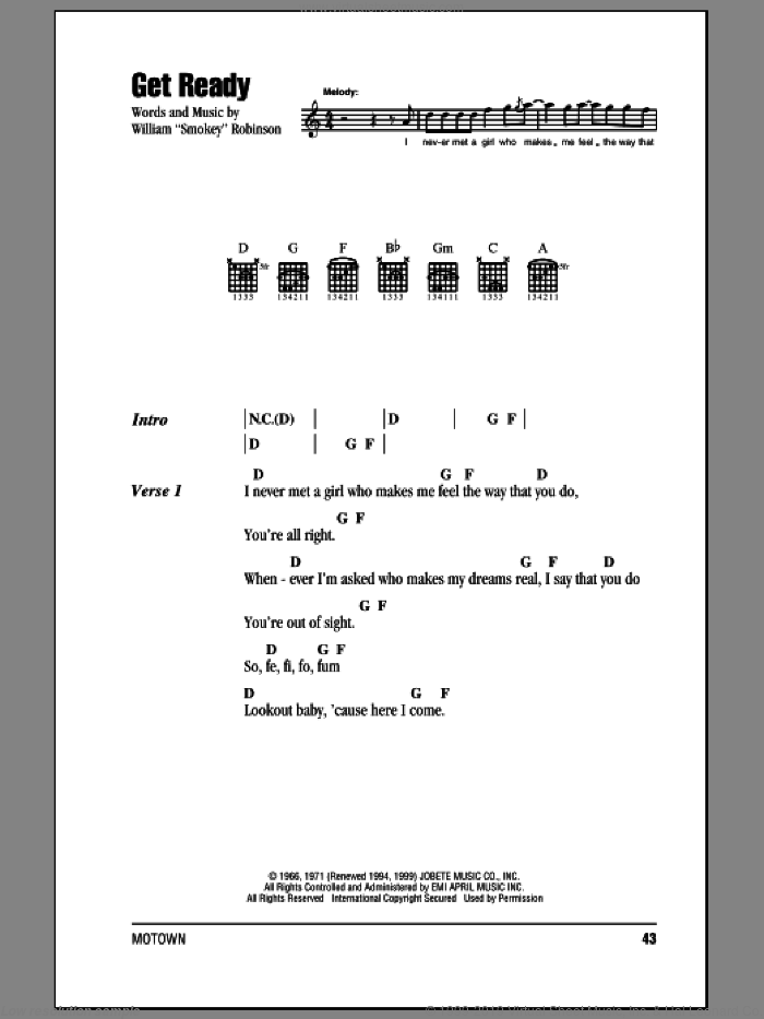 Get Ready sheet music for guitar (chords) by William 'Smokey' Robinson and Rare Earth. Score Image Preview.