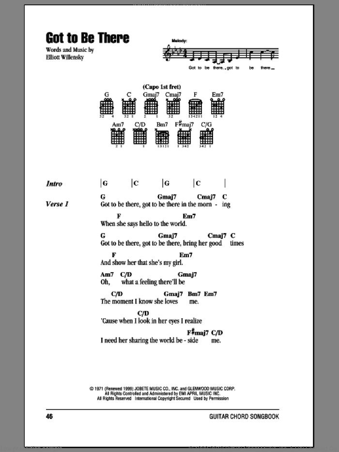 Got To Be There sheet music for guitar (chords) by Elliot Willensky and Michael Jackson. Score Image Preview.