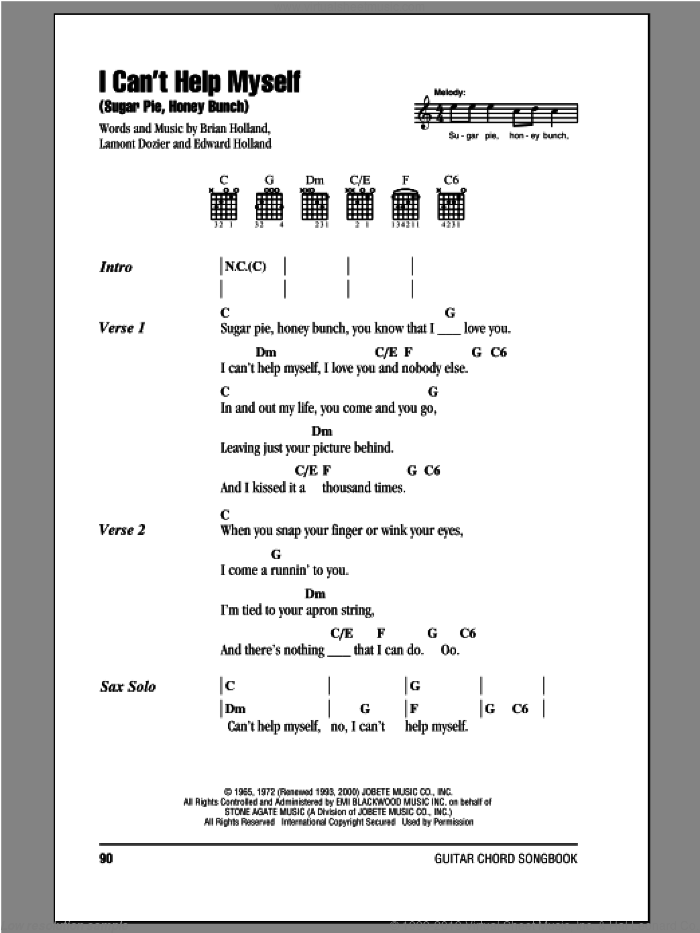 I Can't Help Myself (Sugar Pie, Honey Bunch) sheet music for guitar (chords) by The Four Tops, Brian Holland, Eddie Holland and Lamont Dozier, intermediate skill level