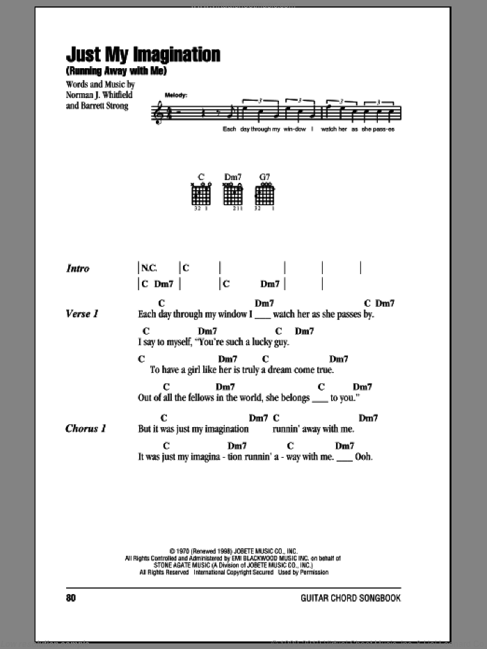Just My Imagination (Running Away With Me) sheet music for guitar (chords) by The Temptations, Barrett Strong and Norman Whitfield, intermediate skill level