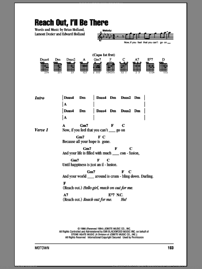 Tops Reach Out Ill Be There Sheet Music For Guitar Chords