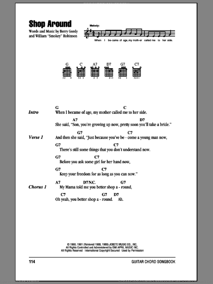 Shop Around sheet music for guitar (chords) by Smokey Robinson & The Miracles, Captain & Tennille and Berry Gordy. Score Image Preview.