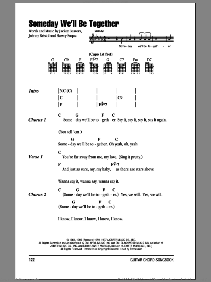 Someday We'll Be Together sheet music for guitar (chords) by The Supremes, Diana Ross, Harvey Fuqua, Jackey Beavers and Johnny Bristol, intermediate skill level