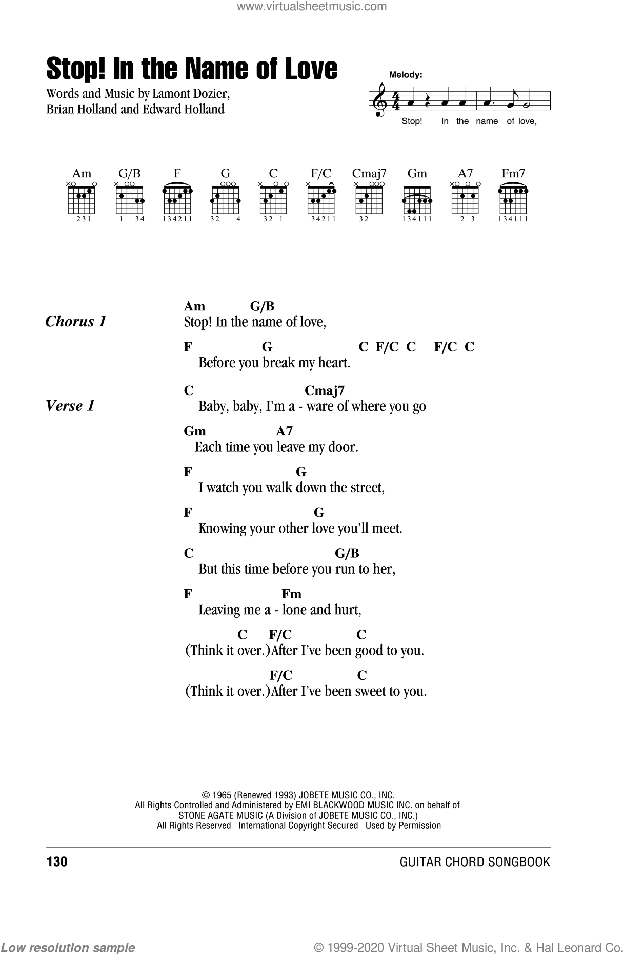 Stop! In The Name Of Love sheet music for guitar (chords) by The Supremes, Diana Ross and Brian Holland, intermediate. Score Image Preview.