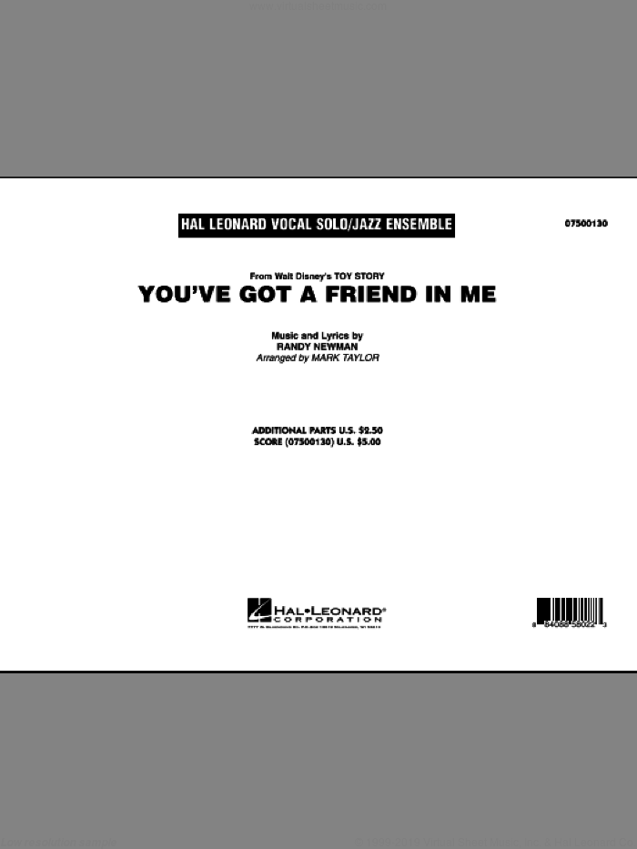 You've Got A Friend In Me (COMPLETE) sheet music for jazz band by Randy Newman and Mark Taylor, intermediate. Score Image Preview.