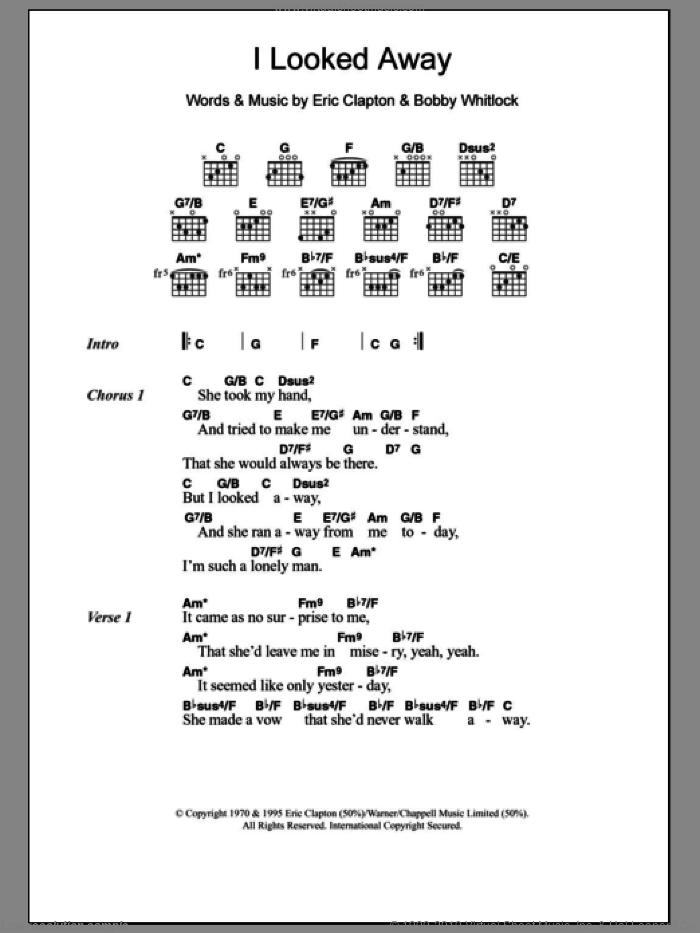 I Looked Away sheet music for guitar (chords, lyrics, melody) by Bobby Whitlock