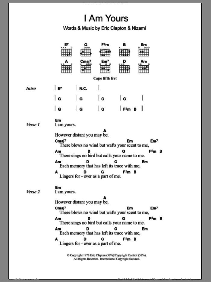 I Am Yours sheet music for guitar (chords) by Eric Clapton, Derek And The Dominos and Nizami, intermediate skill level