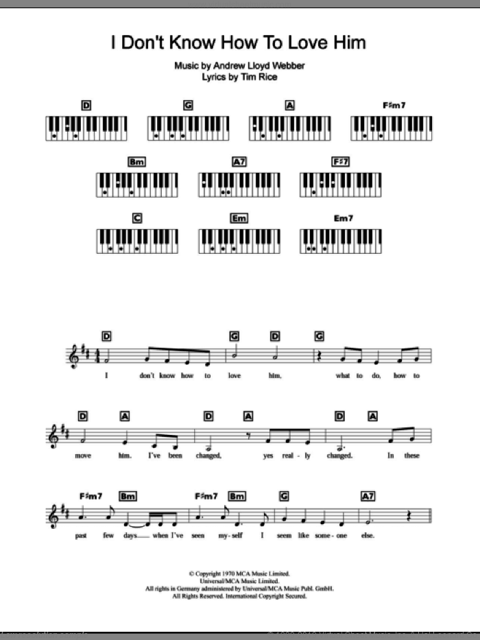I Don't Know How To Love Him sheet music for piano solo (chords, lyrics, melody) by Tim Rice