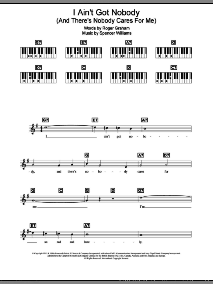 I Ain't Got Nobody (And There's Nobody Cares For Me) sheet music for piano solo (chords, lyrics, melody) by Spencer Williams