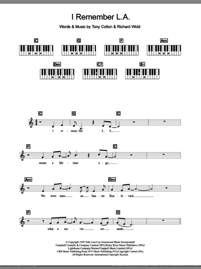 I Remember L.A. sheet music for piano solo (chords, lyrics, melody) by Celine Dion, Richard Wold and Tony Colton. Score Image Preview.