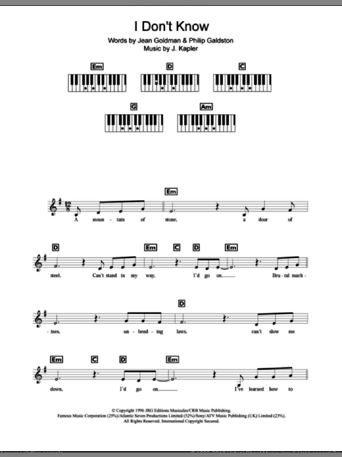 I Don't Know sheet music for piano solo (chords, lyrics, melody) by Celine Dion, J. Kapler, Jean Goldman and Philip Galdston, intermediate piano (chords, lyrics, melody). Score Image Preview.