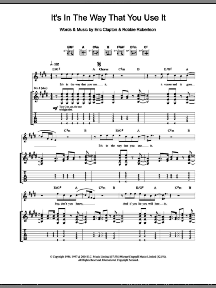 It's In The Way That You Use It sheet music for guitar (tablature) by Robbie Robertson and Eric Clapton. Score Image Preview.