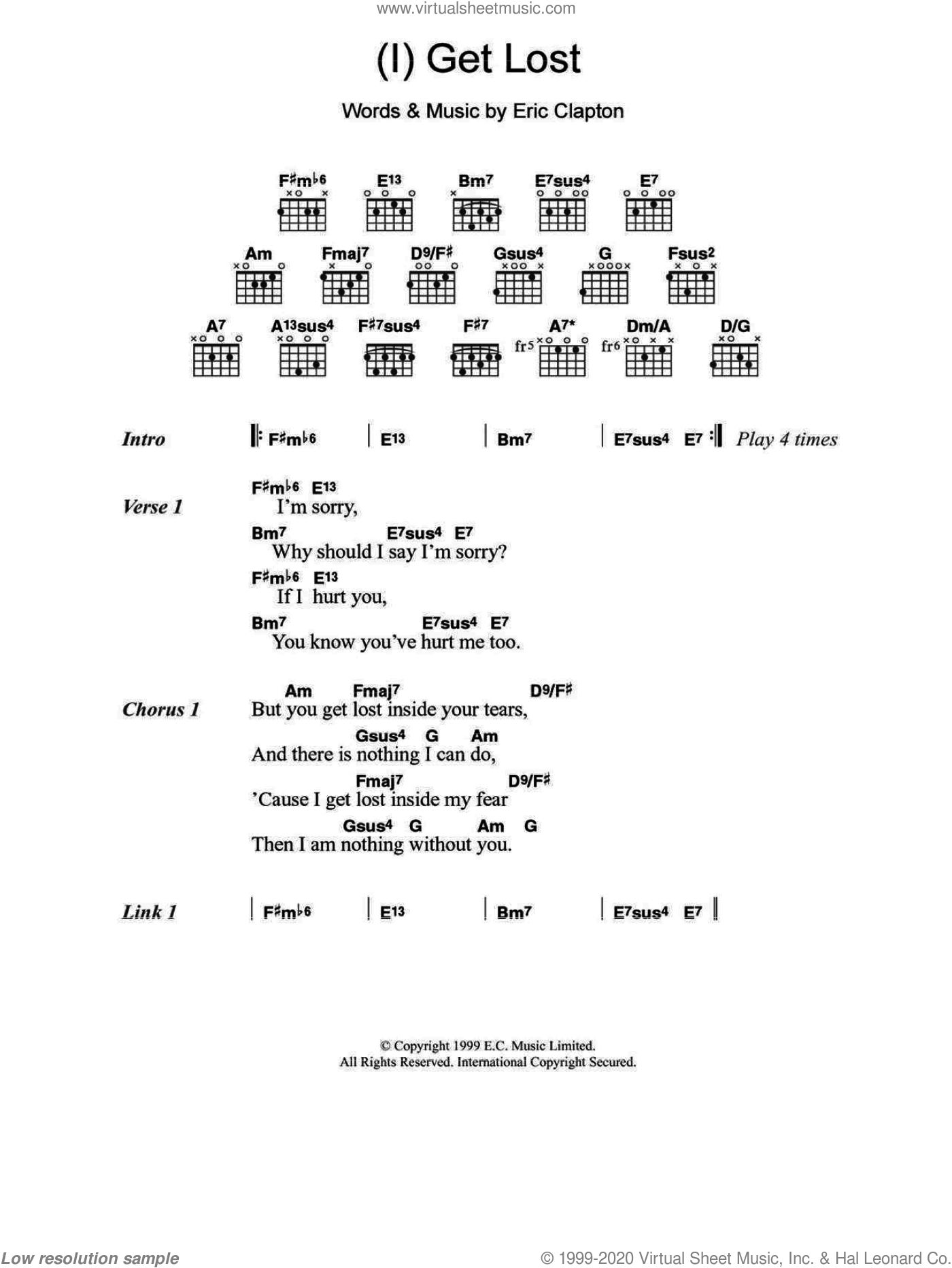 Clapton I Get Lost Sheet Music For Guitar Chords Pdf