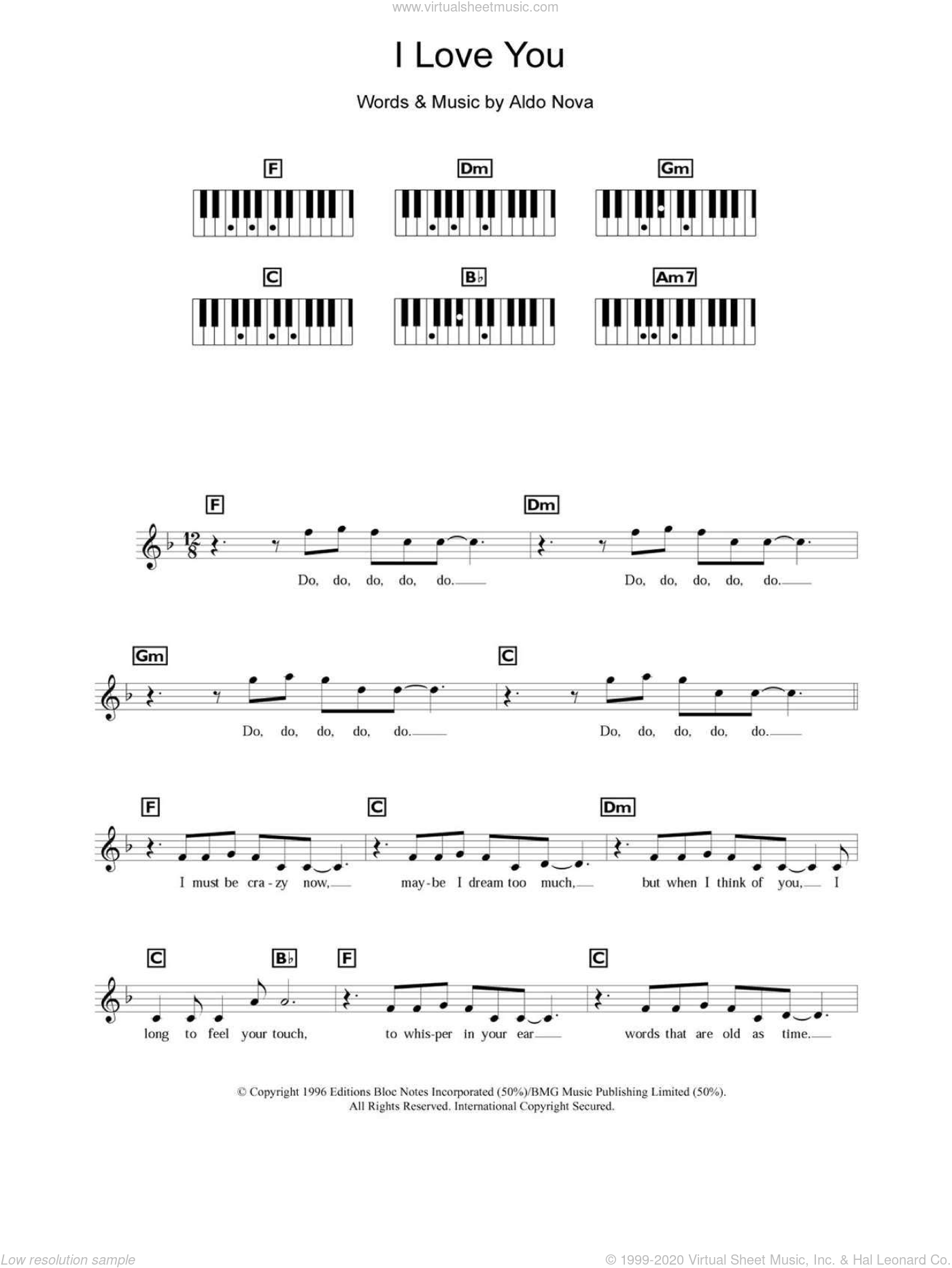 I Love You sheet music for piano solo (chords, lyrics, melody) by Celine Dion and Aldo Nova. Score Image Preview.