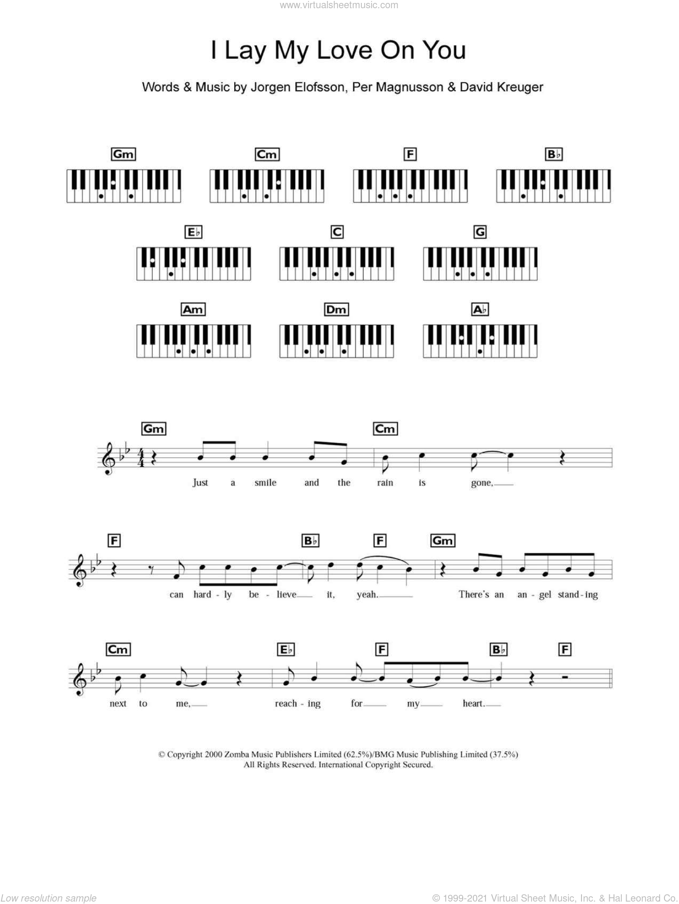 Westlife - I Lay My Love On You sheet music for piano solo (chords ...
