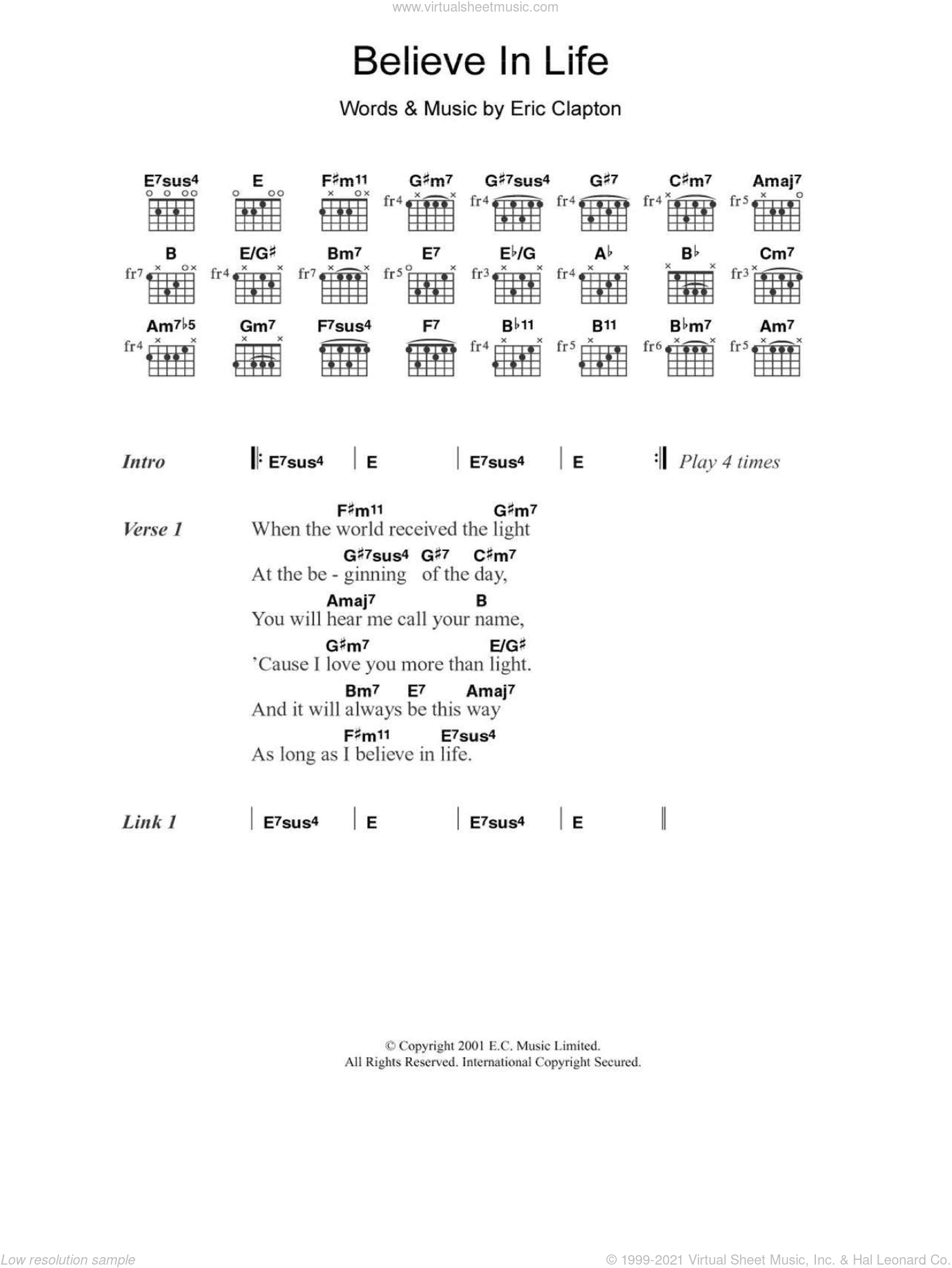 Believe In Life sheet music for guitar (chords) by Eric Clapton