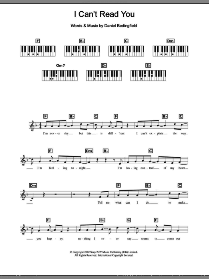 I Can't Read You sheet music for piano solo (chords, lyrics, melody) by Daniel Bedingfield. Score Image Preview.