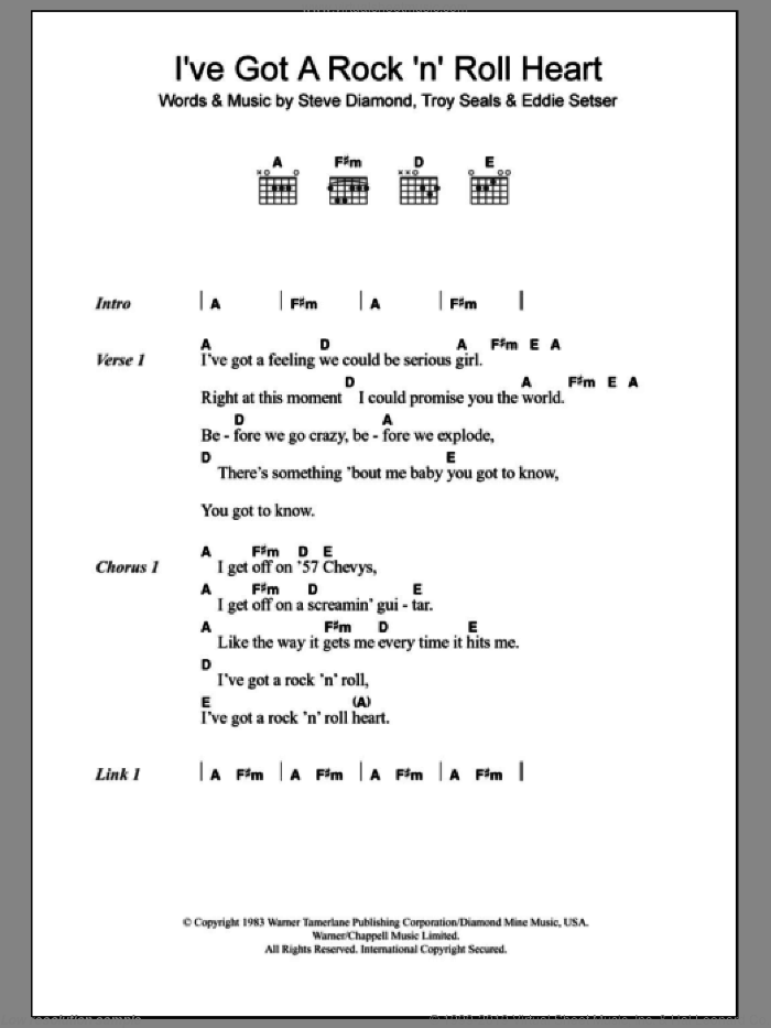 I've Got A Rock 'N' Roll Heart sheet music for guitar (chords, lyrics, melody) by Troy Seals