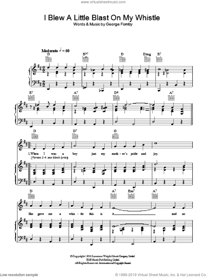 I Blew A Little Blast On My Whistle sheet music for voice, piano or guitar by George Formby, intermediate skill level