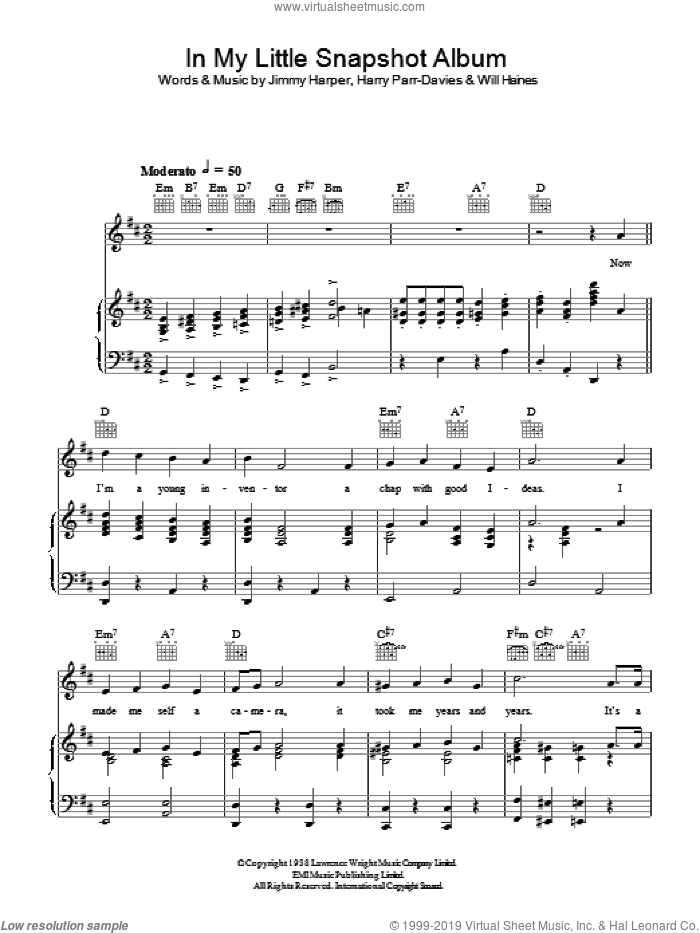 In My Little Snapshot Album sheet music for voice, piano or guitar by Will Haines