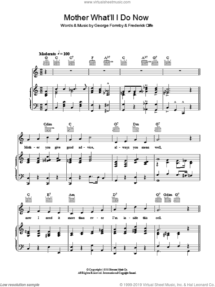 Mother What'll I Do Now sheet music for voice, piano or guitar by George Formby. Score Image Preview.