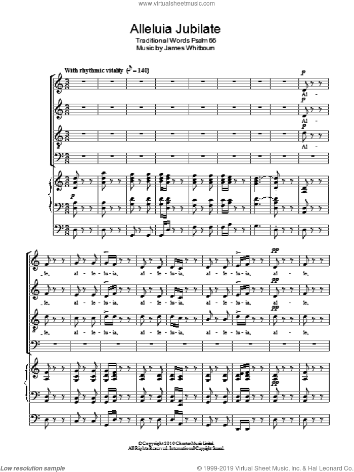 Alleluia Jubilate sheet music for choir (SATB) by James Whitbourn. Score Image Preview.