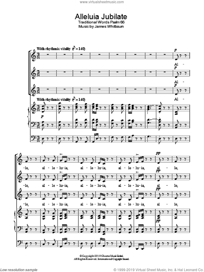 Alleluia Jubilate sheet music for choir (SSA: soprano, alto) by James Whitbourn, intermediate. Score Image Preview.