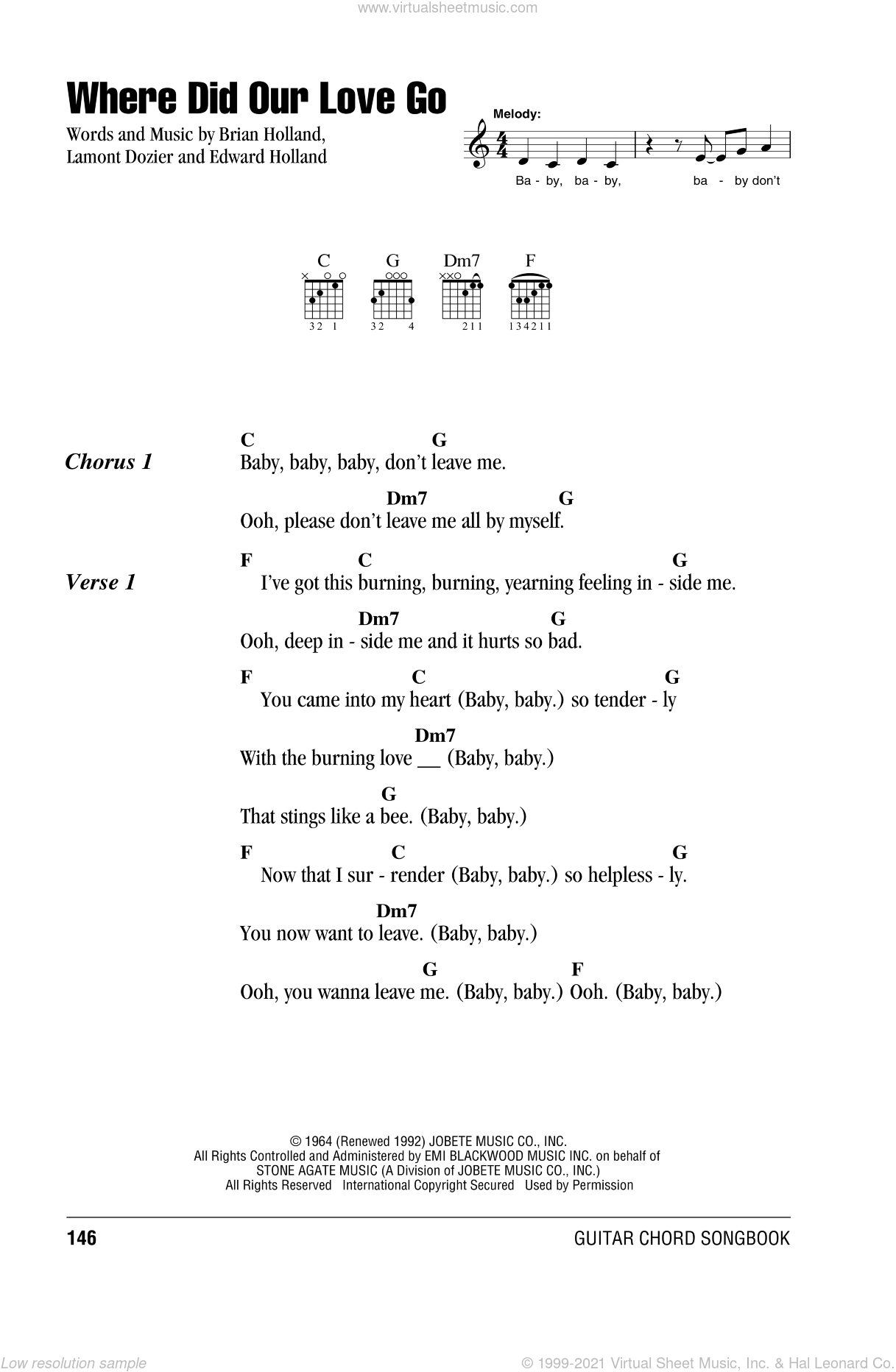 Supremes   Where Did Our Love Go sheet music for guitar chords