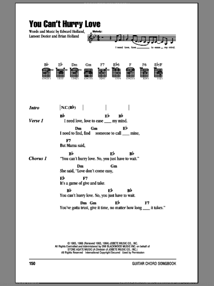 You Can't Hurry Love sheet music for guitar (chords) by The Supremes, Diana Ross, Brian Holland, Eddie Holland and Lamont Dozier, intermediate skill level