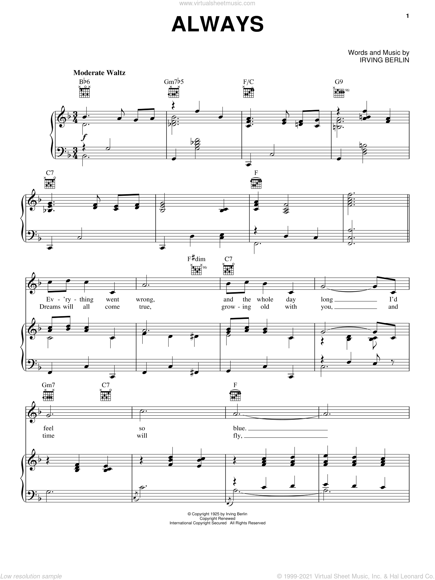 Always sheet music for voice, piano or guitar by Billie Holiday, Frank Sinatra, Patsy Cline and Irving Berlin, wedding score, intermediate skill level