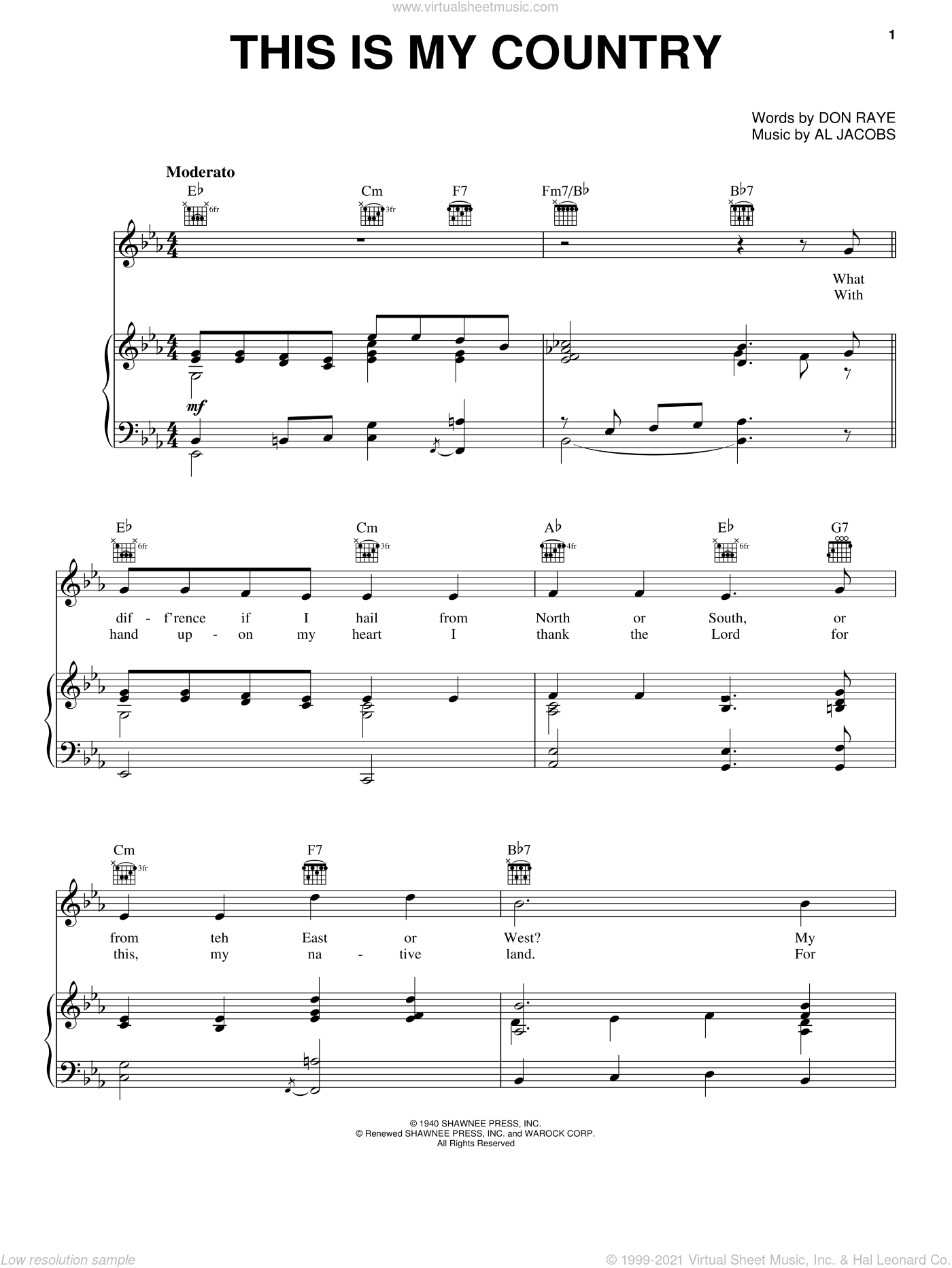 This Is My Country sheet music for voice, piano or guitar by Tennessee Ernie Ford, Al Jacobs and Don Raye, intermediate skill level