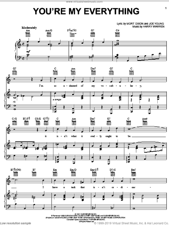 You're My Everything sheet music for voice, piano or guitar by The Temptations, Nat King Cole, Harry Warren, Joe Young and Mort Dixon, wedding score, intermediate skill level