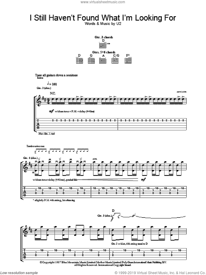 I Still Haven't Found What I'm Looking For sheet music for guitar (tablature) by U2 and Bono, intermediate skill level