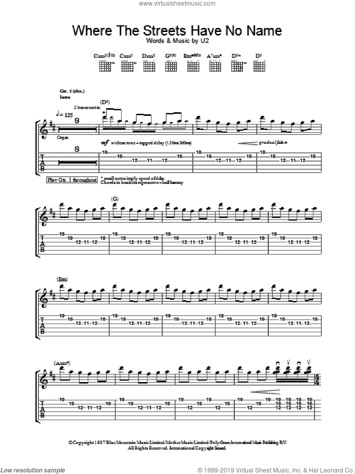 Where The Streets Have No Name sheet music for guitar (tablature) by U2. Score Image Preview.