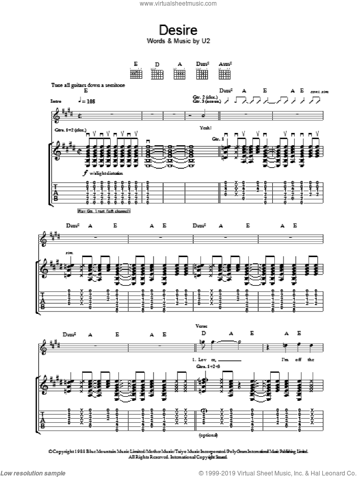 Desire sheet music for guitar (tablature) by U2 and Bono, intermediate. Score Image Preview.