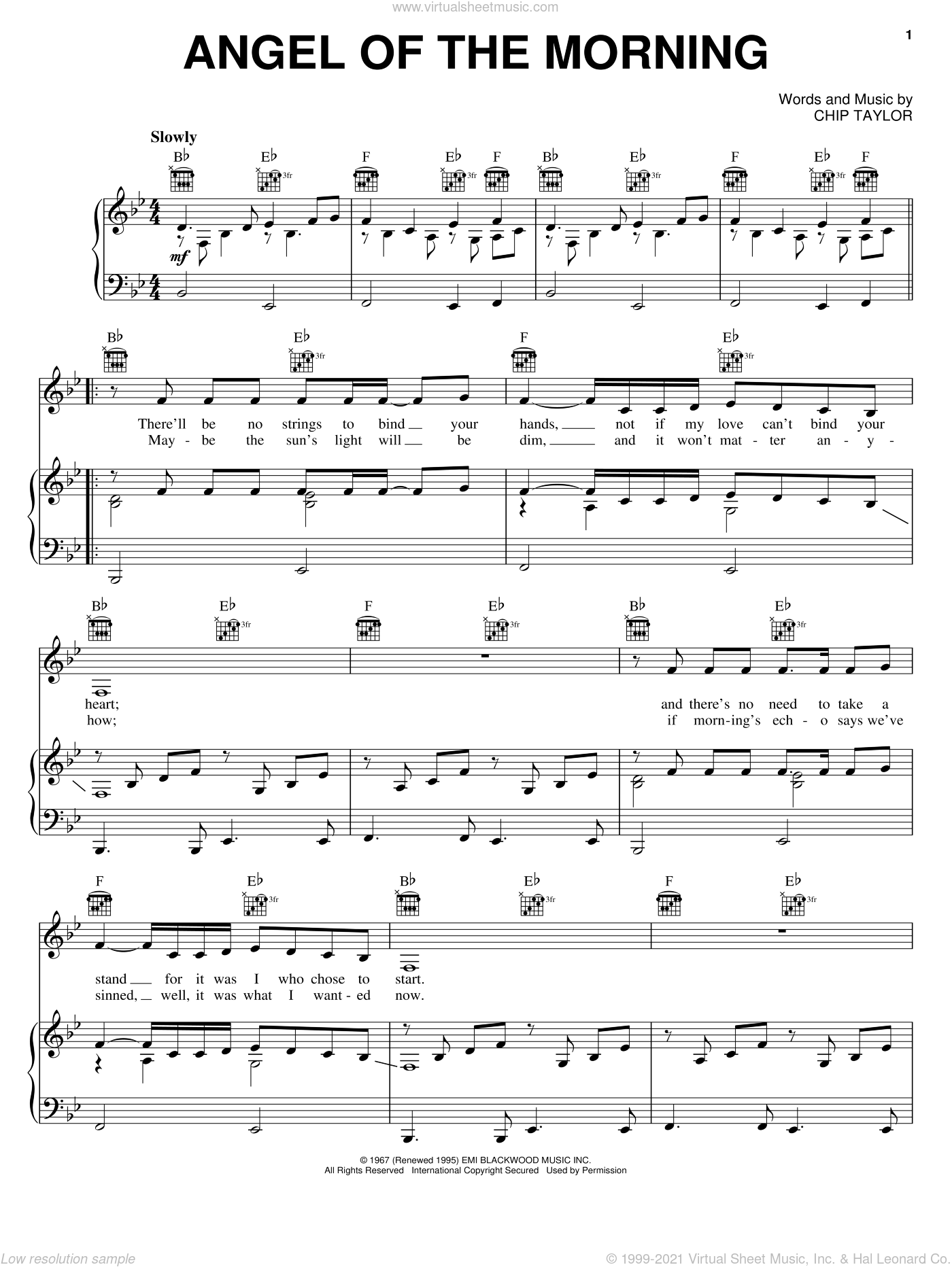 Angel Of The Morning sheet music for voice, piano or guitar by Chip Taylor