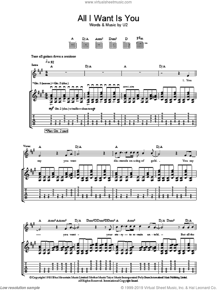 All I Want Is You sheet music for guitar (tablature) by U2 and Bono. Score Image Preview.
