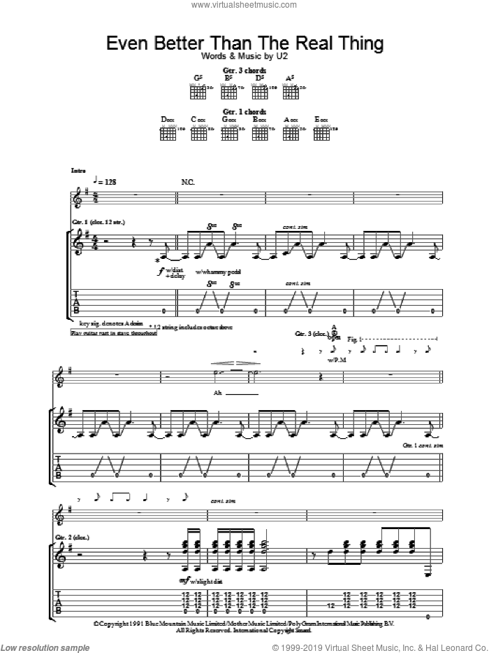 Even Better Than The Real Thing sheet music for guitar (tablature) by U2. Score Image Preview.