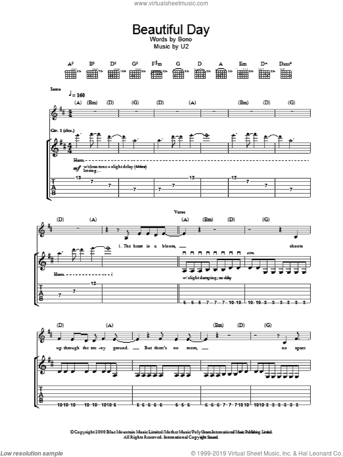 Beautiful Day sheet music for guitar (tablature) by U2 and Bono, intermediate skill level