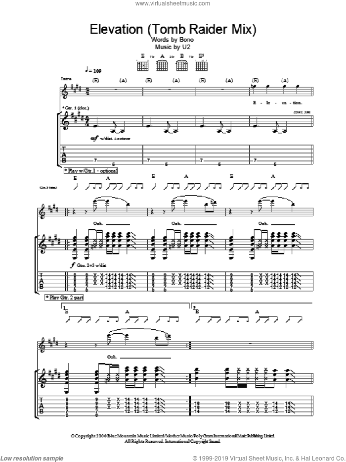 Elevation (Tomb Raider Mix) sheet music for guitar (tablature) by U2 and Bono, intermediate skill level