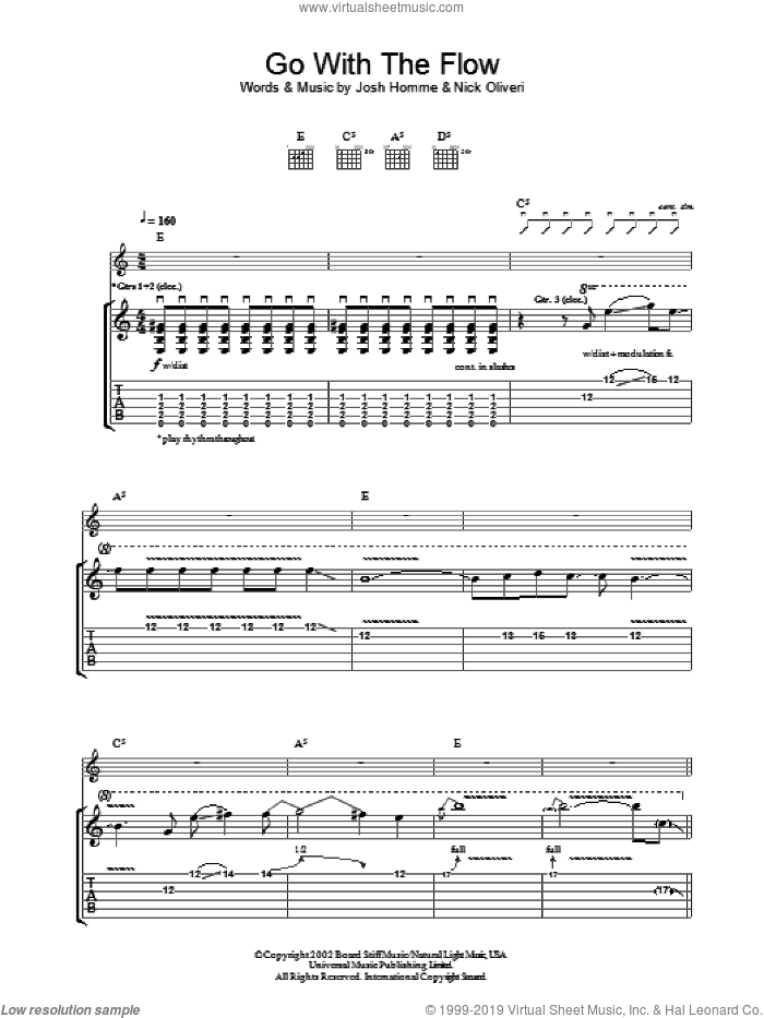 Go With The Flow sheet music for guitar (tablature) by Queens Of The Stone Age. Score Image Preview.