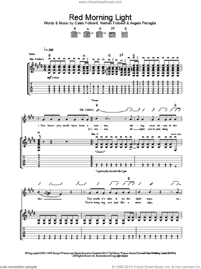 Red Morning Light sheet music for guitar (tablature) by Kings Of Leon, Angelo Petraglia, Caleb Followill and Nathan Followill, intermediate skill level